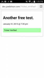 Ticket verified on a mobile device.