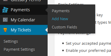 Payments Menu item