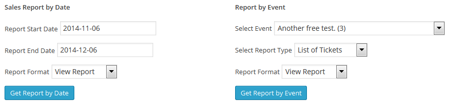 Forms to select available reports.