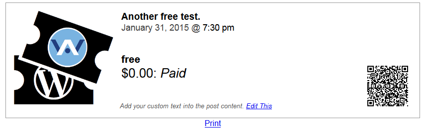 A printable ticket