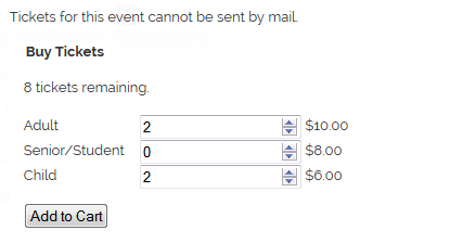 Add to Cart form example